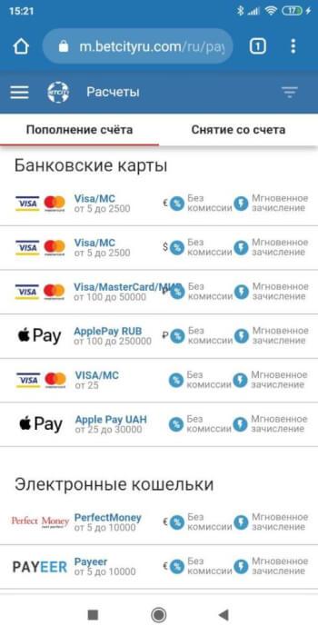 Платежные системы Бетсити