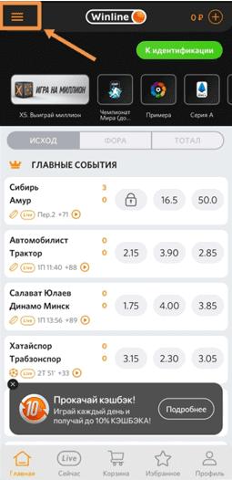Главная страница мобильного приложения для Айфона